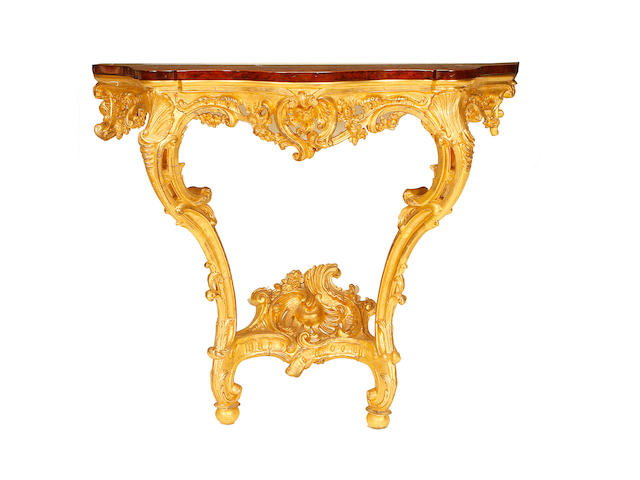 A pair of Italian third quarter 19th century giltwood console tables in the Rococo Revival style