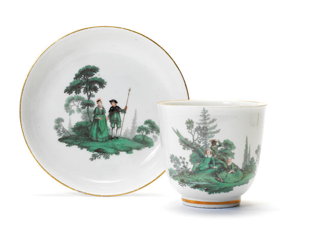 A large Meissen cup and saucer, circa 1750