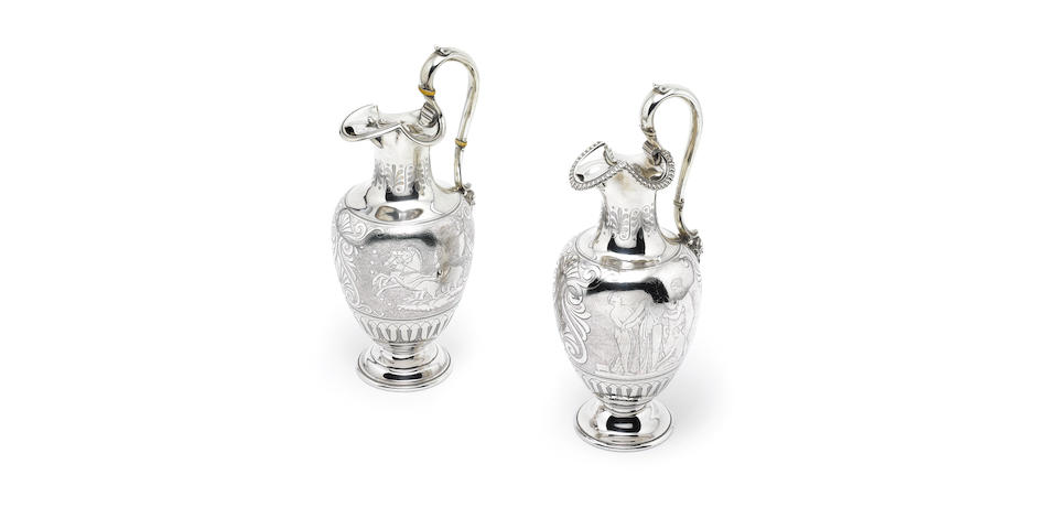 A matched pair of Victorian silver ewers, by Edward & John Barnard,  London 1856-1867,  (2)