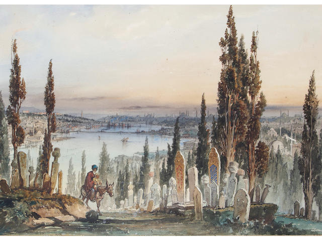 Vittorio Amadeo Preziosi (Maltese, 1816-1882) A cemetery overlooking the Bosphorus, Constantinople