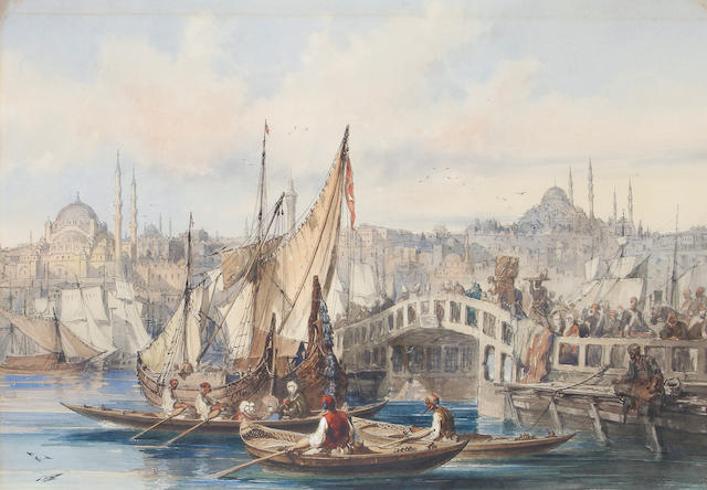 Vittorio Amadeo Preziosi (Maltese, 1816-1882) The Galata Bridge, Constantinople