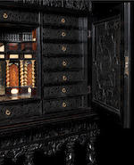 A French 17th century ebony, ebonised, fruitwood, giltwood, marquetry, bone, ivory and pewter inlaid cabinet Paris, circa 1645