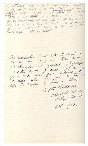 MACKENZIE (COMPTON) Autograph manuscript, signed, of his biography of Dr Benes, 1944-1946