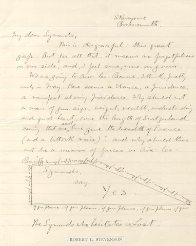 STEVENSON (ROBERT LOUIS) Autograph letter signed, to [John Addington] Symonds, [1887]