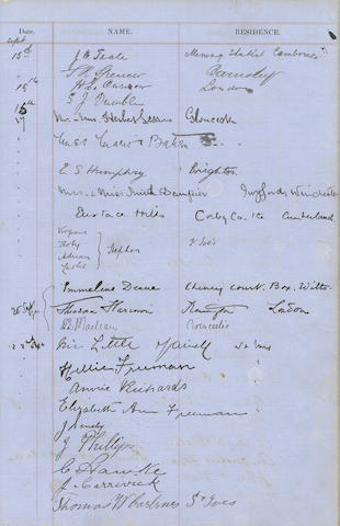 WOOLF (VIRGINIA) Trinity House Visitors Book for Godrevy Lighthouse, St Ives, Cornwall, recording two visits by Virginia Stephen, aged ten and twelve, in 1892 and 1894