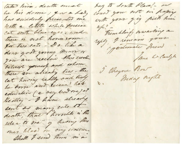 CARLYLE (JANE WELSH) Autograph letter signed, [1852]