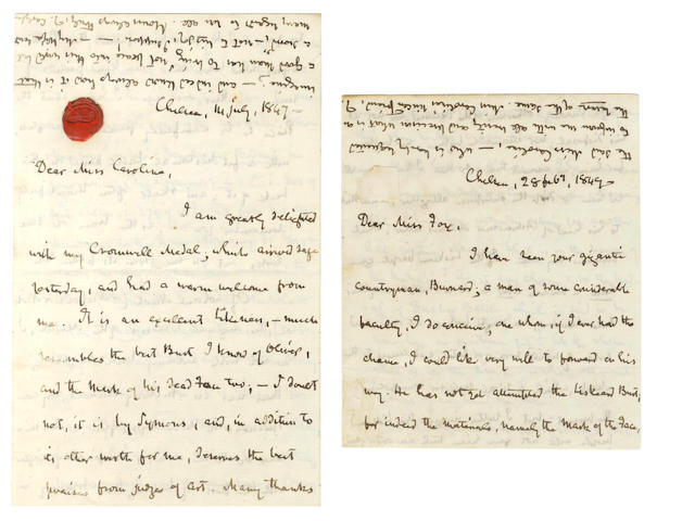 CARLYLE (THOMAS) Two autograph letters signed, to the diarist Caroline Fox, 1847 and 1849