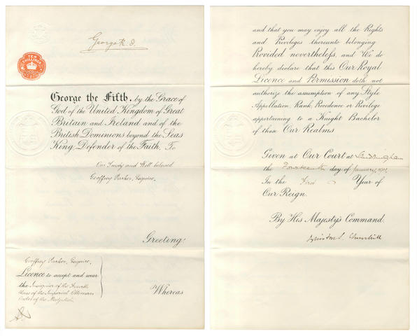 CHURCHILL (WINSTON) Document signed by King George V and countersigned by Churchill, 1911