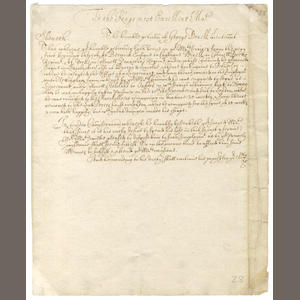 "CHARLES I and THE CIVIL WAR.""The humble petition of George Druell, Lieutenant"", addressed to King Charles I"", undated"