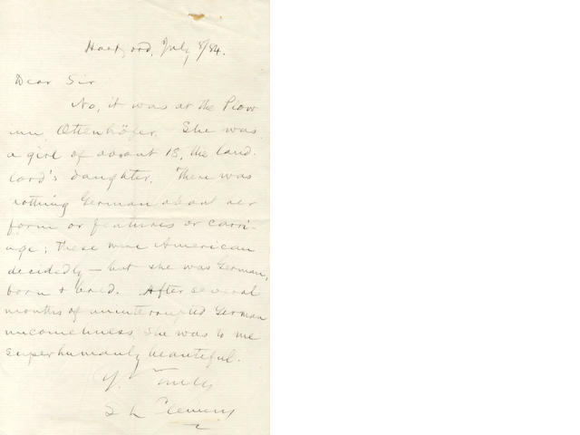 CLEMENS (SAMUEL LANGHORNE) 'Mark Twain'. Autograph letter signed, about A Tramp Abroad, 1884