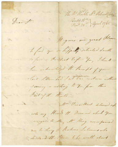 CLIVE (ROBERT, Baron Clive of Plassey) 'Clive of India'. Autograph letter signed, to John Pybus of the Madras Council, 1765