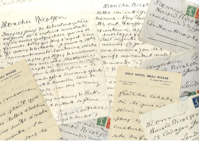 COCTEAU (JEAN) Four autograph letters signed, to Harold Nicolson, 1912