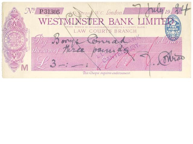 CONRAD (JOSEPH) Autograph cheque signed, 1924