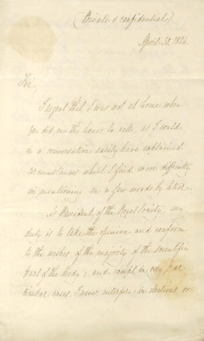 DAVY (HUMPHRY) Letter signed, as President of the Royal Society, 1826