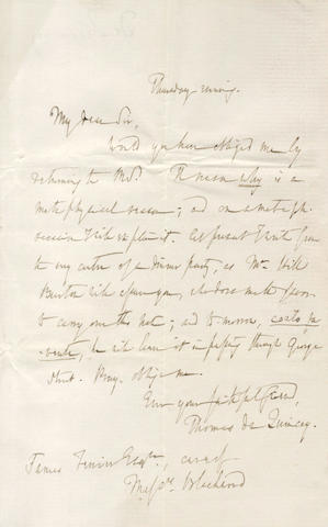DE QUINCEY (THOMAS) Three autograph letters signed, to the philosopher James Ferrier, 1845 and 1852