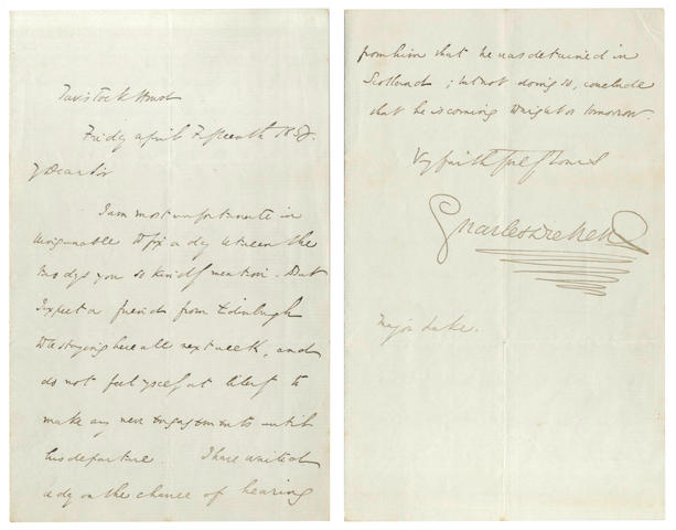 DICKENS (CHARLES) Autograph letter signed, to Major Lake, 1853