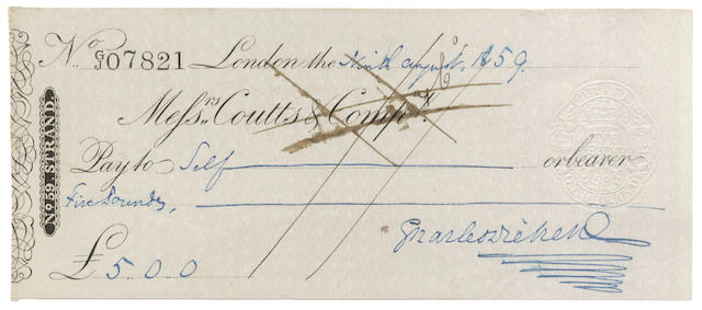 DICKENS (CHARLES) Autograph cheque signed, 1859