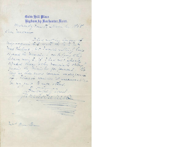 DICKENS (CHARLES) Autograph letter signed, to Mrs Hunton, 1868