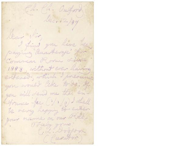 DODGSON (CHARLES LUTWIDGE) 'Lewis Carroll'. Autograph letter signed, 1887