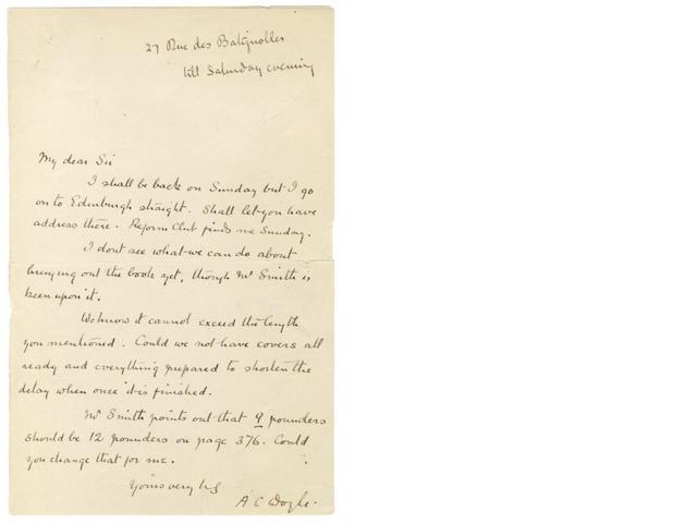 DOYLE (ARTHUR CONAN) Autograph letter signed, [?1902]