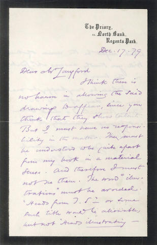 "ELIOT (GEORGE) Autograph letter signed (""M.E. Lewes""), to Joseph Langford of Blackwood's, 1879"