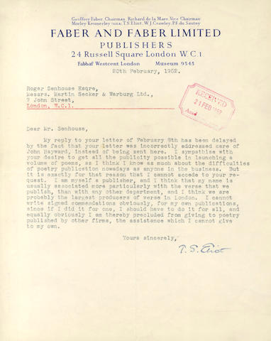 ELIOT (T.S.) Typed letter signed, to his fellow-publisher Roger Senhouse, 1952