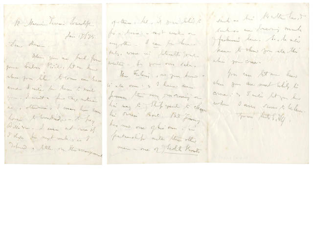 FITZGERALD (EDWARD) Five autograph letters signed, to his young friend Horace Basham, 1875-1880
