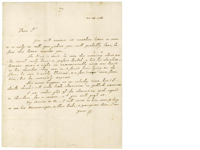 GRAY (THOMAS) Fine Autograph letter signed, announcing the death of King George II, 1760
