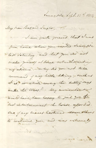 IRVING (WASHINGTON) Autograph letter signed, to his friend and fellow author Bayard Taylor, 1854