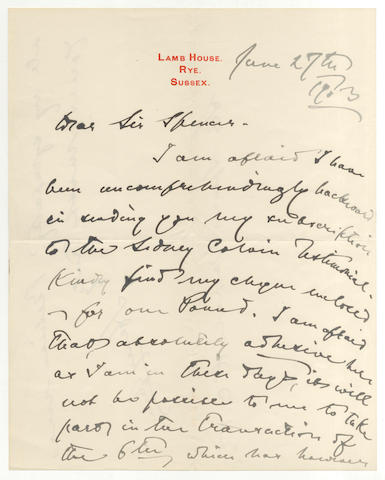 JAMES (HENRY) Autograph letter signed, 1903