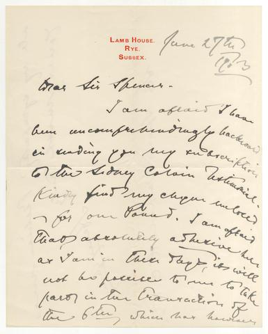 JAMES (HENRY) Autograph letter signed, 1903