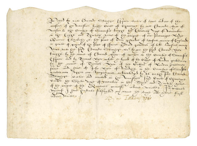 "DYER (EDWARD) Document signed (""By me Edward Dyer""), being an indenture and acquittance, 1596"