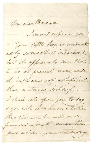 JENNER (EDWARD) Autograph letter signed, upbraiding an over-anxious mother, [c.1800-1815]