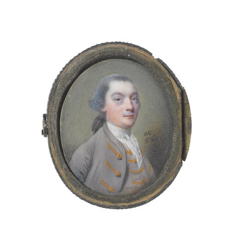 Nathaniel Hone (Irish, 1718-1784) A Gentleman, wearing mauve coat and waistcoat with gold lace and buttons to each, white frilled lace chemise and white stock, his powdered hair worn en queue and tied with a black ribbon bow