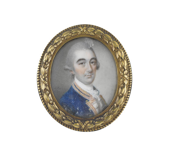 James Reily (Irish, 1730-1780) A Gentleman, wearing blue coat with white facings, pink borders edged with gold to his collar and facings, white stock and frilled lace chemise, his powdered wig worn en queue and tied with a black ribbon bow