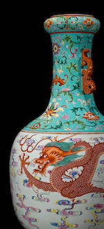 A fine famille rose enameled porcelain dragon vase Qianlong Mark, 19th Century