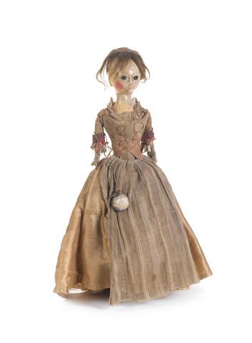 A George II wooden doll, English circa 1750
