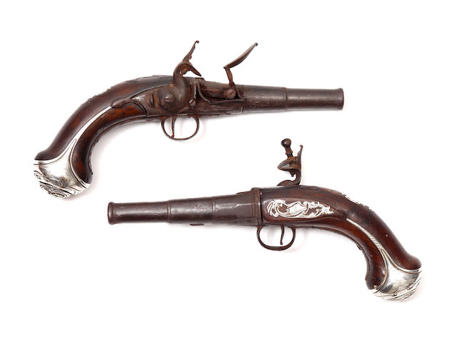A Pair of Silver Mounted Flintlock Travelling Pistols