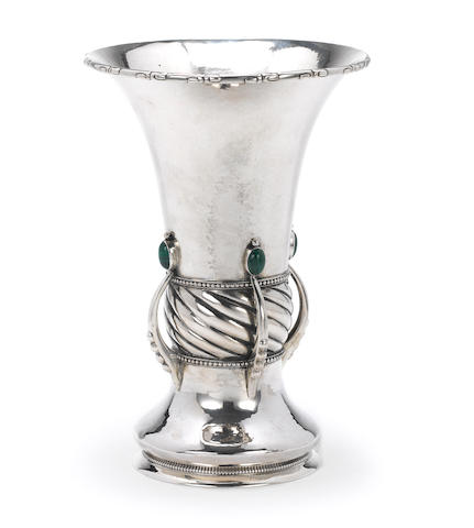 a silver vase decorated with green malachite stones, 1914 Kopenhagen