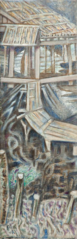 Nikos Hadjikyriakos-Ghika (Greek, 1906-1994) Fishing hut 70 x 23 cm.