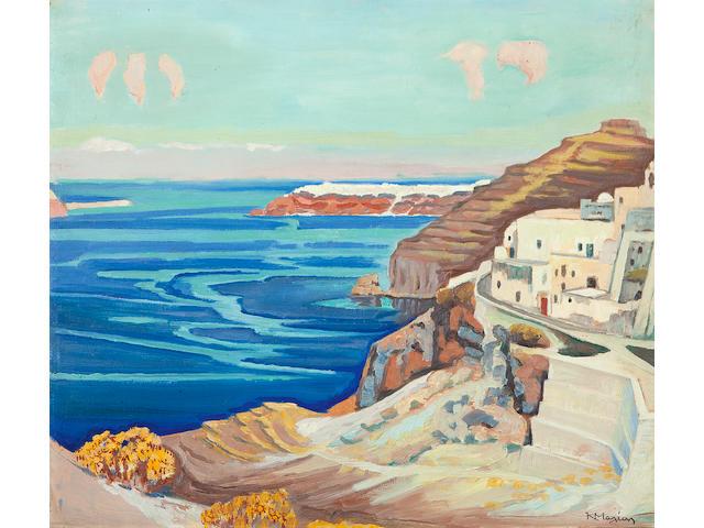 Constantinos Maleas (Greek, 1879-1928) Santorini 49 x 56 cm.