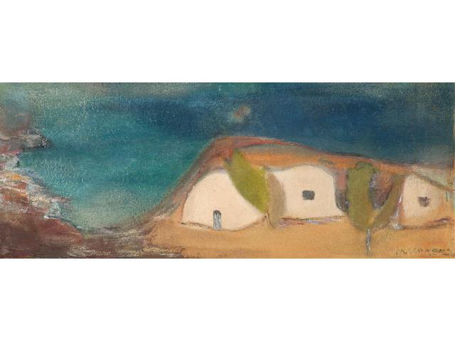 Michalis Economou (Greek, 1888-1933) Houses by the beach 23 x 57 cm.