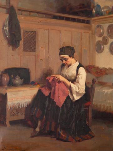Apostolos Geralis (Greek, 1886-1983) Girl sewing 60 x 45 cm.