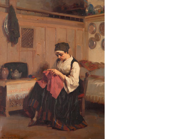 Apostolos Geralis (Greek, 1886-1983) Girl sewing 60 x 45 cm.