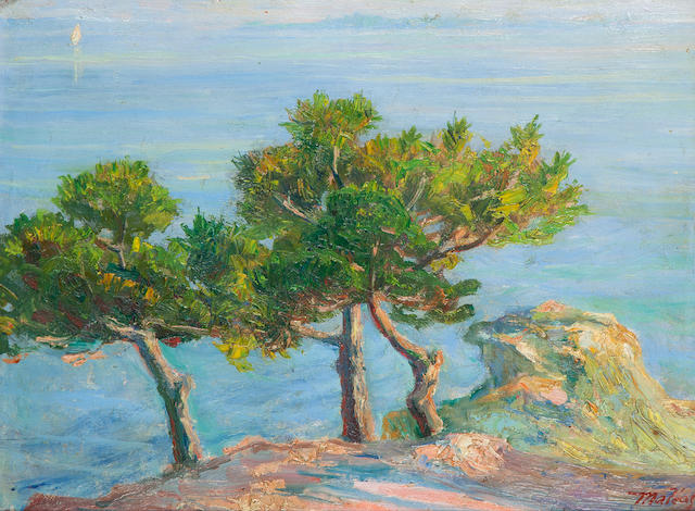 Constantinos Maleas (Greek, 1879-1928) Pine trees in Halki 29 x 39 cm.