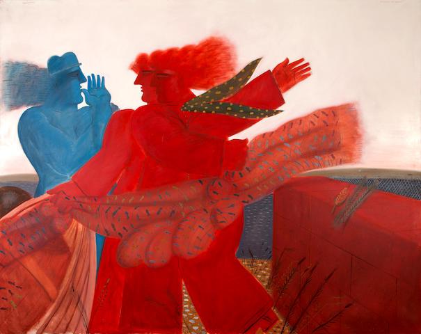 Alecos Fassianos (Greek, born 1935) Foulard aux poissons 200 x 250 cm.