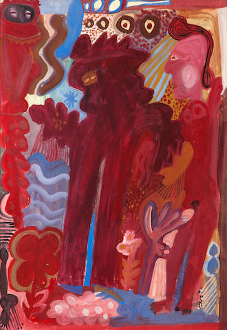 Alecos Fassianos (Greek, born 1935) Athena and Poseidon 76 x 53 cm.