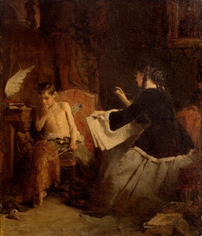 Nicholaos Gysis (Greek, 1842-1901) Eros and the Painter 50 x 40 cm.