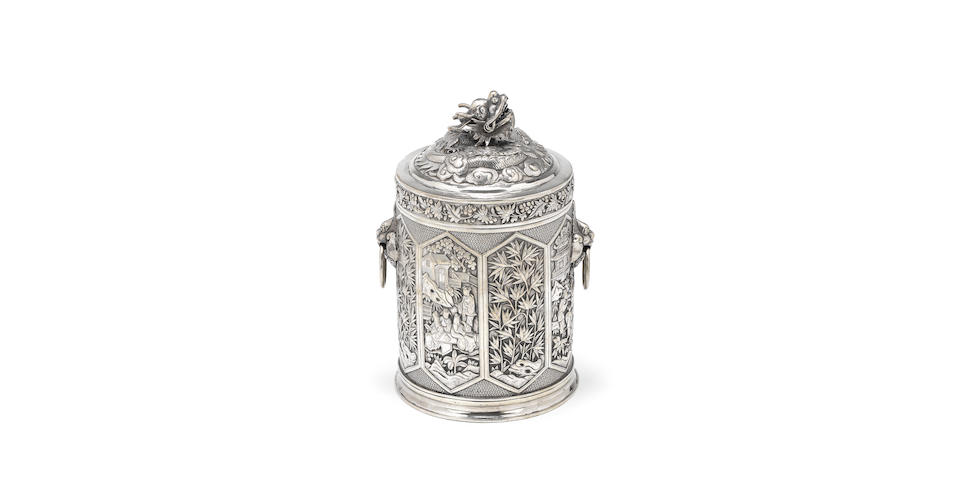 A Chinese export silver tea cannister, by Wang Hing, also stamped 90 and with character mark, circa 1900,