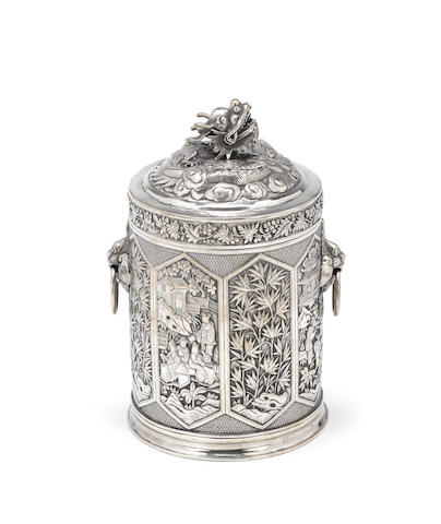 A late 19th/early 20th century Chinese export silver tea canister, by Wang Hing, also stamped 90 and character mark, circa 1900,